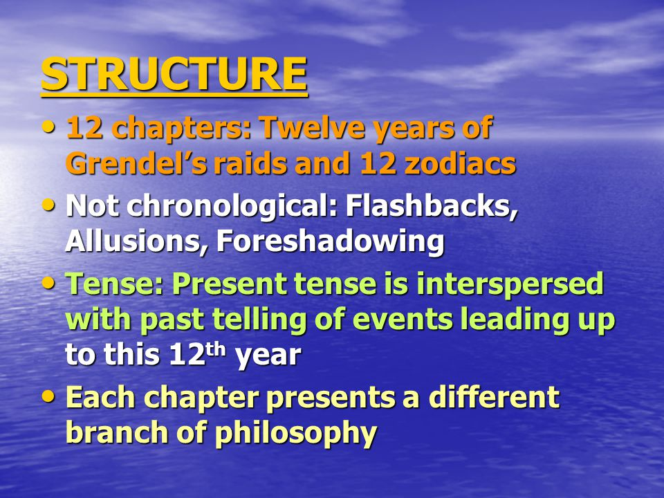 STRUCTURE 12 chapters: Twelve years of Grendel's raids and 12 zodiacs