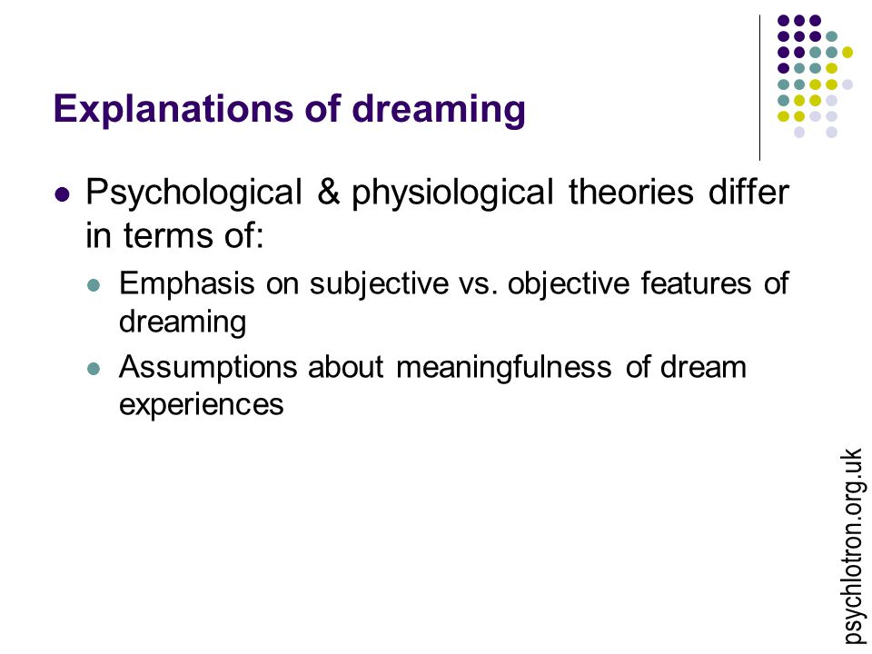 Explanations of dreaming