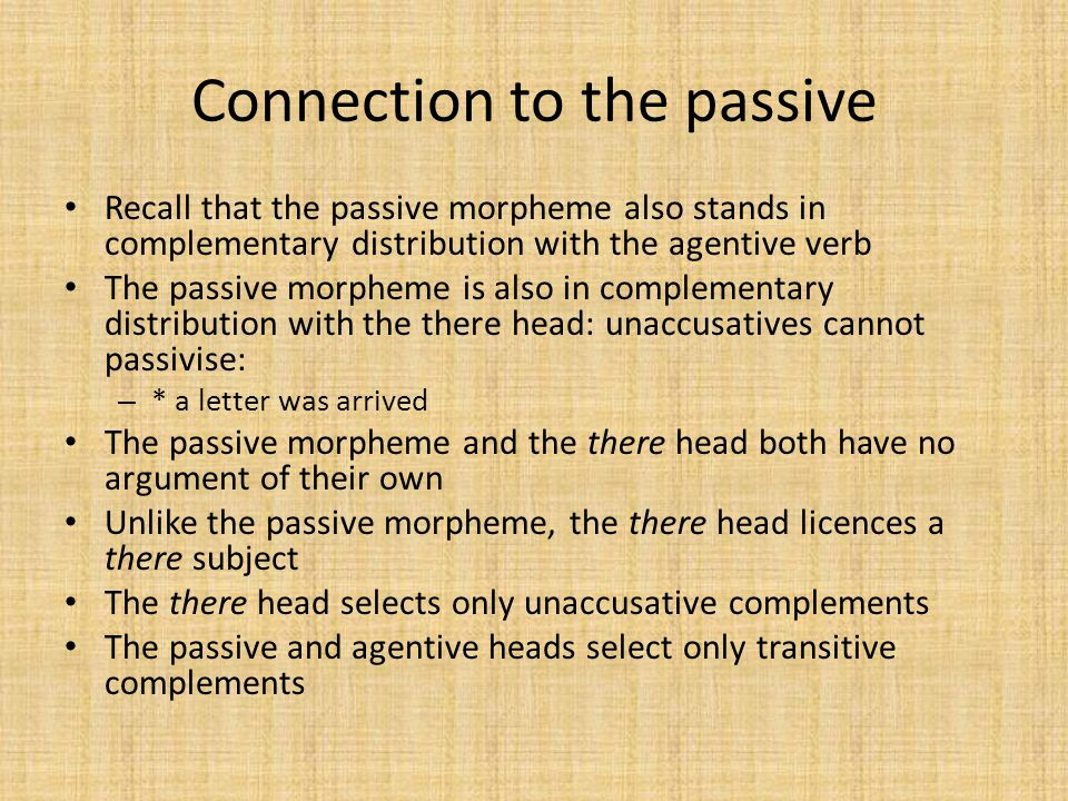 Connection to the passive