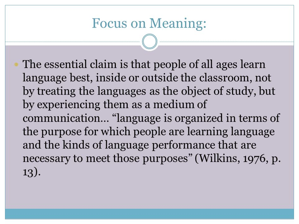 Focus on Meaning: