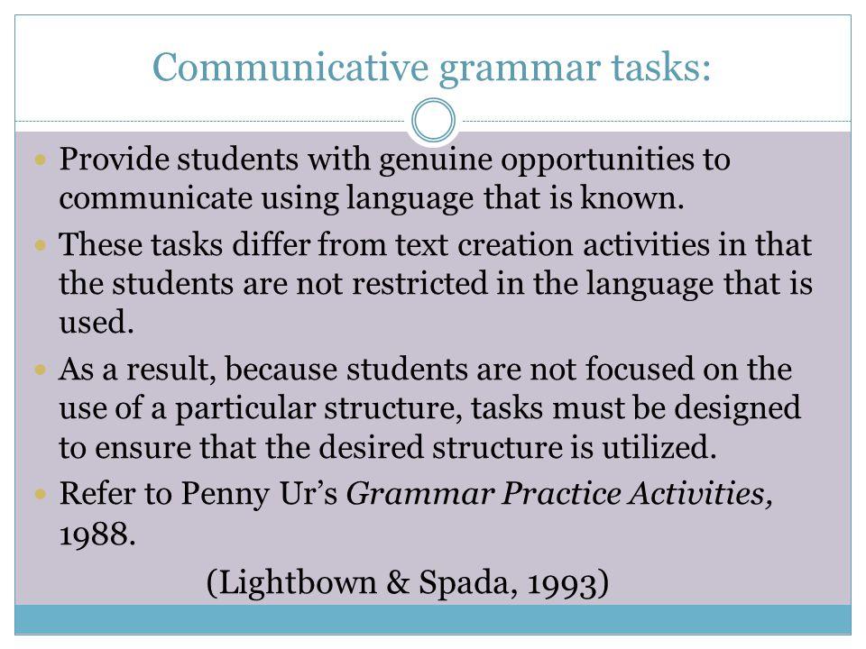 Communicative grammar tasks: