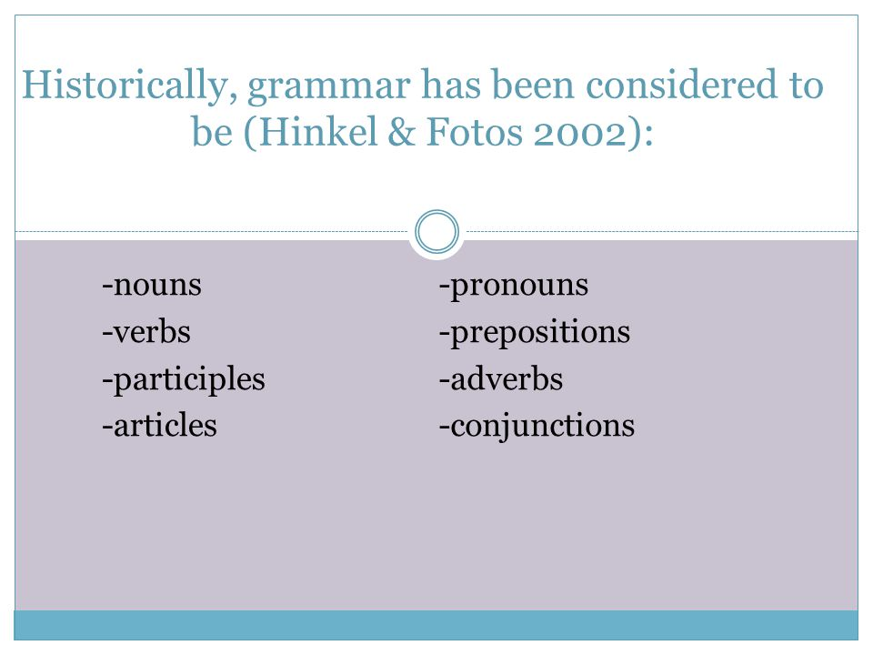 Historically, grammar has been considered to be (Hinkel & Fotos 2002):