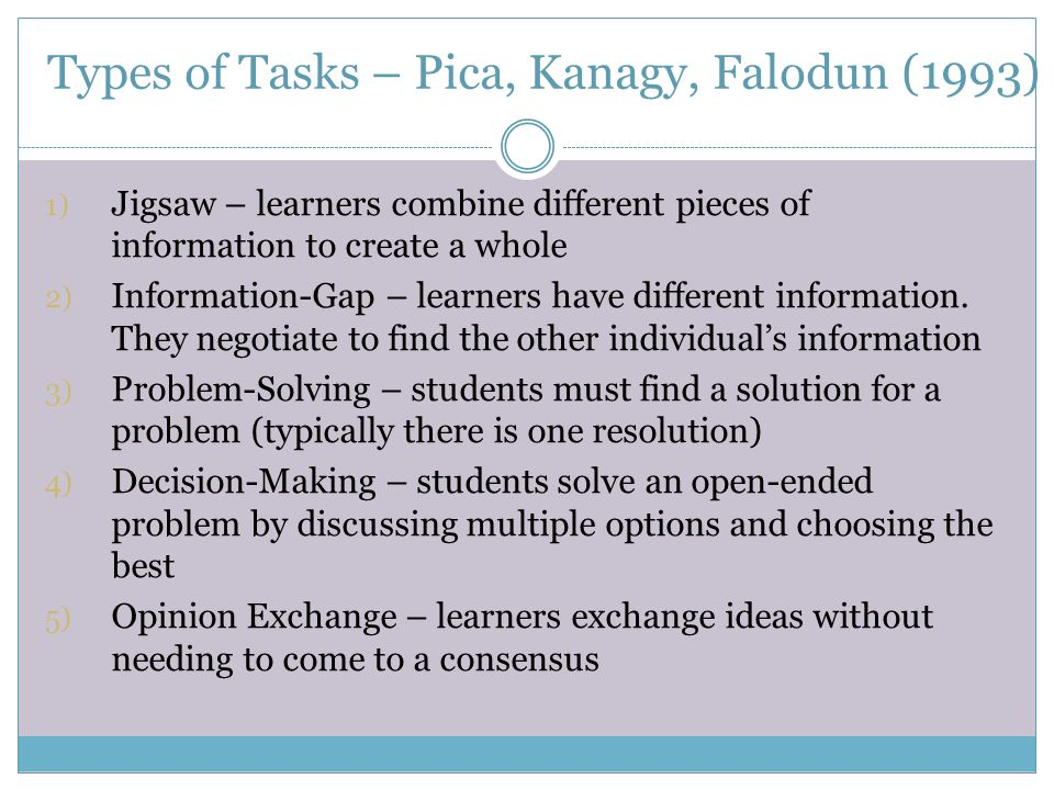 Types of Tasks – Pica, Kanagy, Falodun (1993)