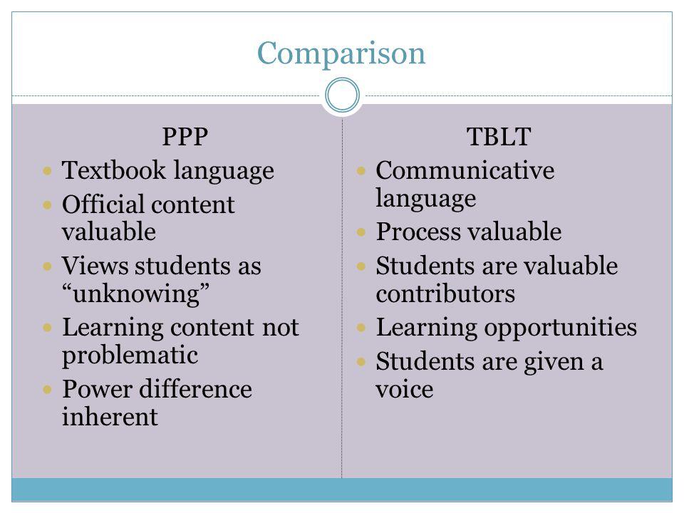 Comparison PPP Textbook language Official content valuable