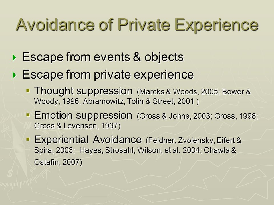 Avoidance of Private Experience