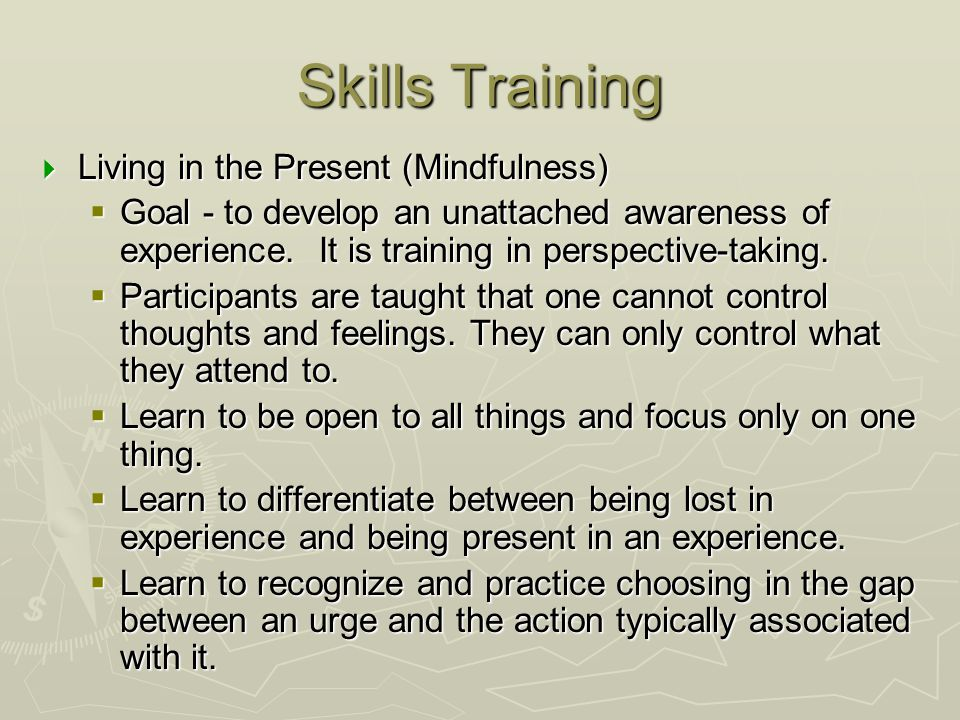 Skills Training Living in the Present (Mindfulness)
