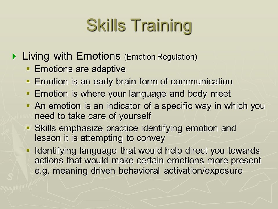 Skills Training Living with Emotions (Emotion Regulation)