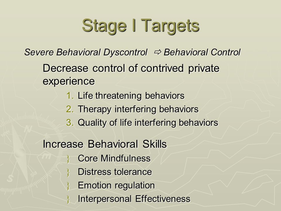 Stage I Targets Decrease control of contrived private experience