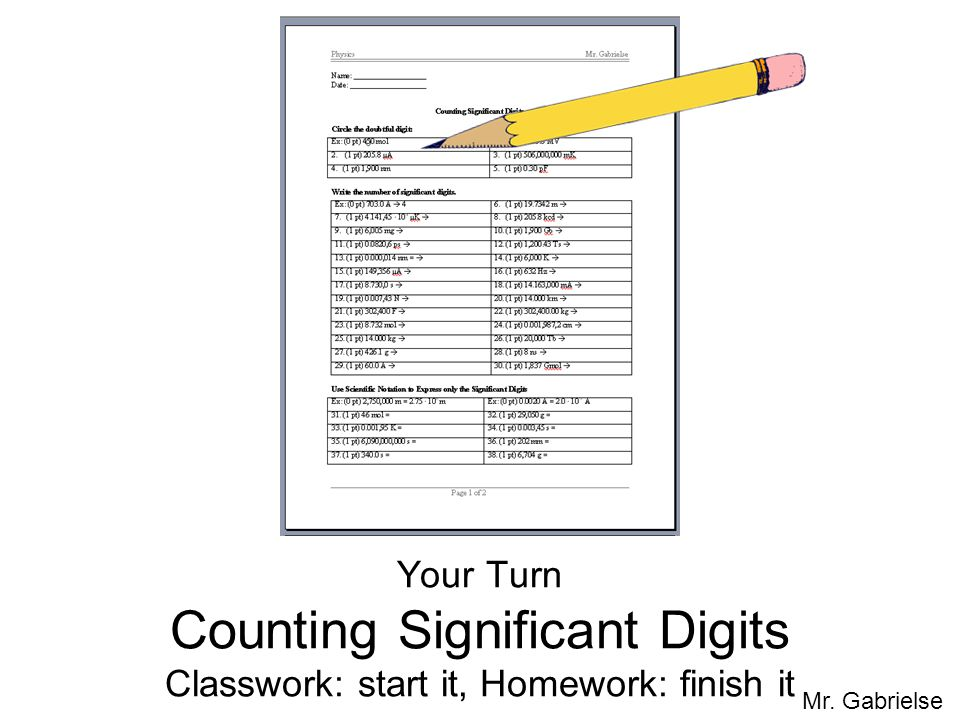 Your Turn Counting Significant Digits Classwork: start it, Homework: finish it
