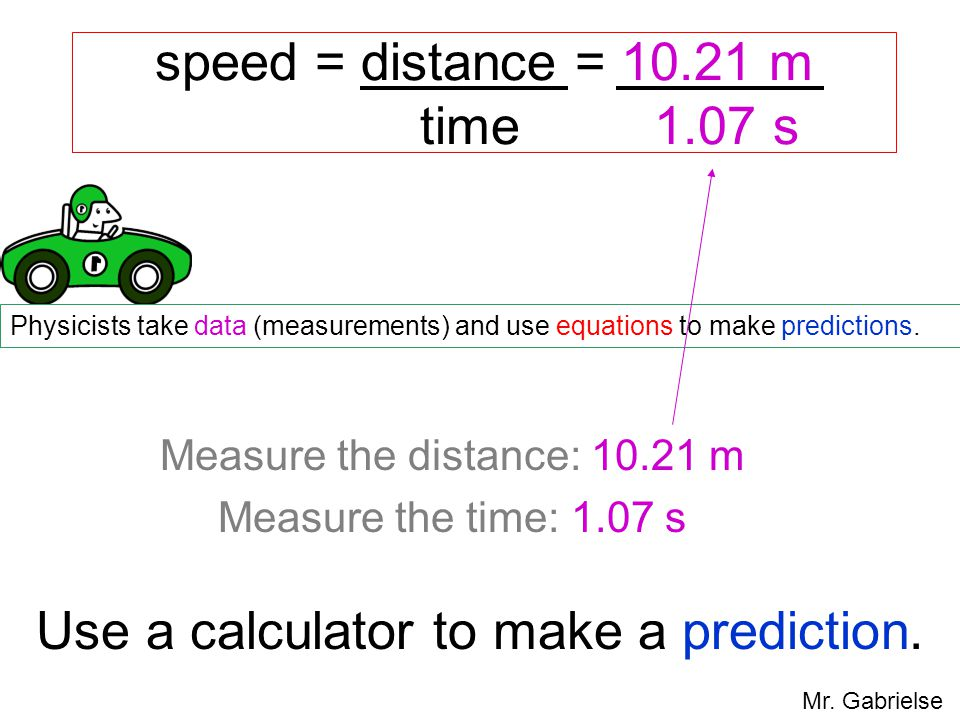 speed = distance = 10.21 m time 1.07 s