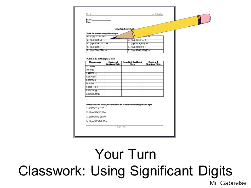Your Turn Classwork: Using Significant Digits