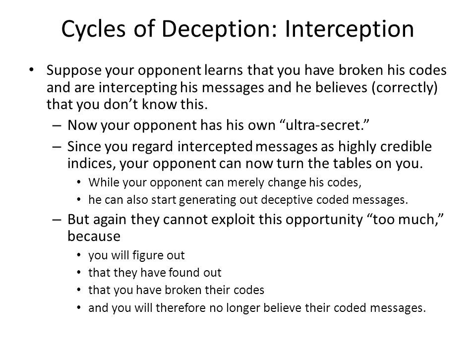 Cycles of Deception: Interception