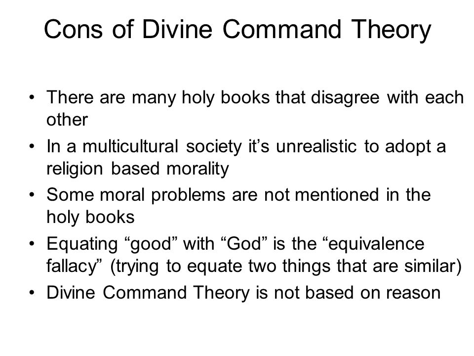 Cons of Divine Command Theory