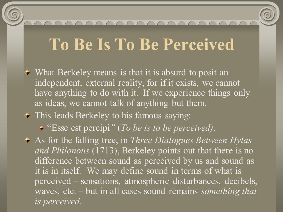 To Be Is To Be Perceived