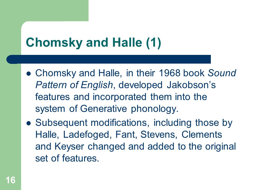 Chomsky and Halle (1)