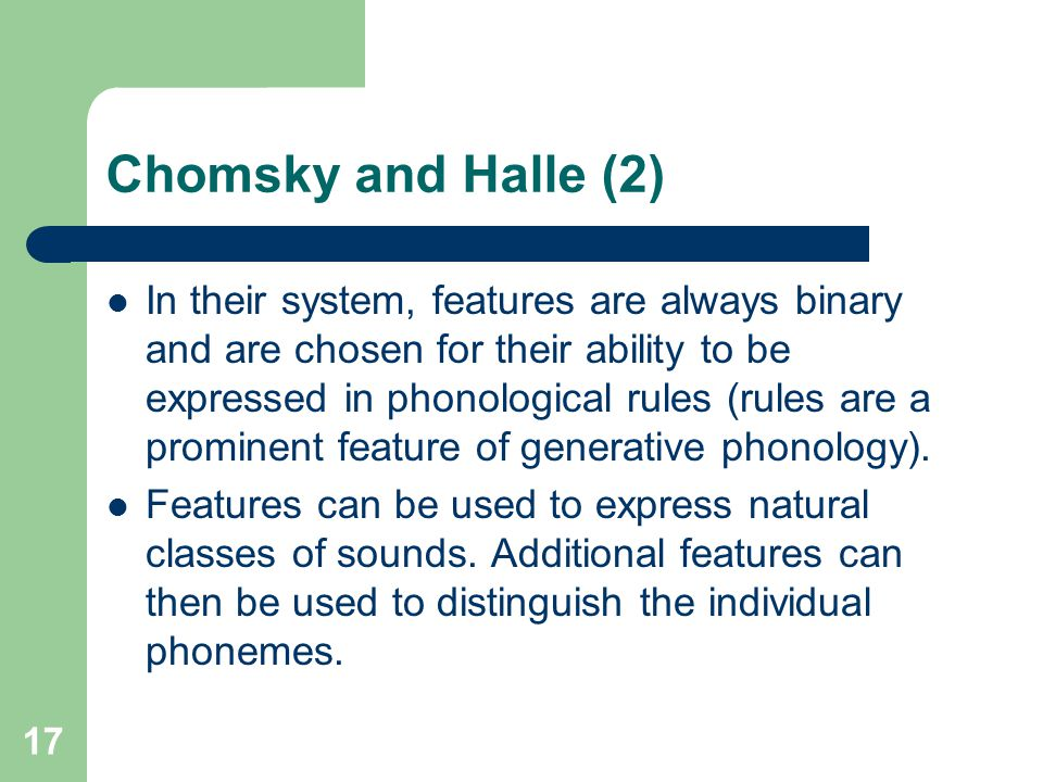Chomsky and Halle (2)