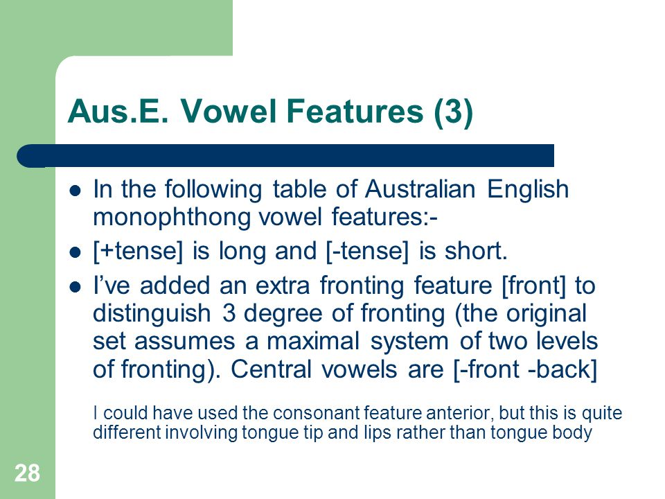 Aus.E. Vowel Features (3) In the following table of Australian English monophthong vowel features:-