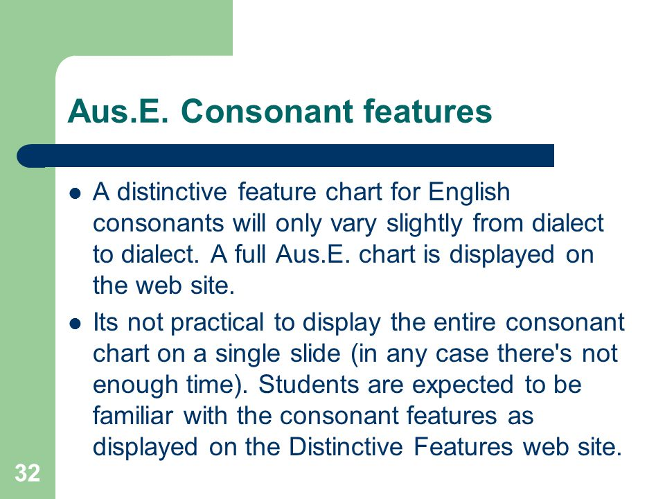 Aus.E. Consonant features