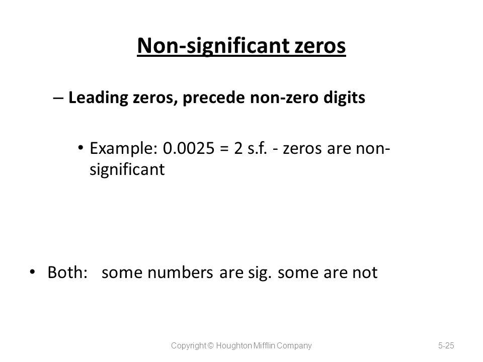 Non-significant zeros