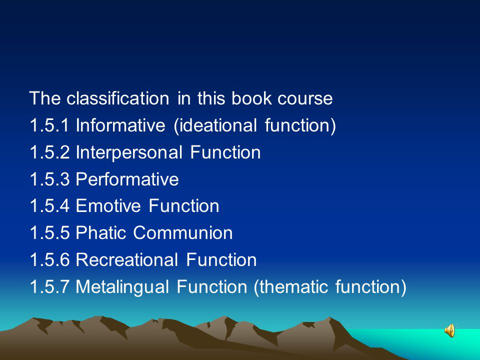 The classification in this book course