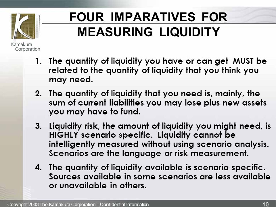FOUR IMPARATIVES FOR MEASURING LIQUIDITY