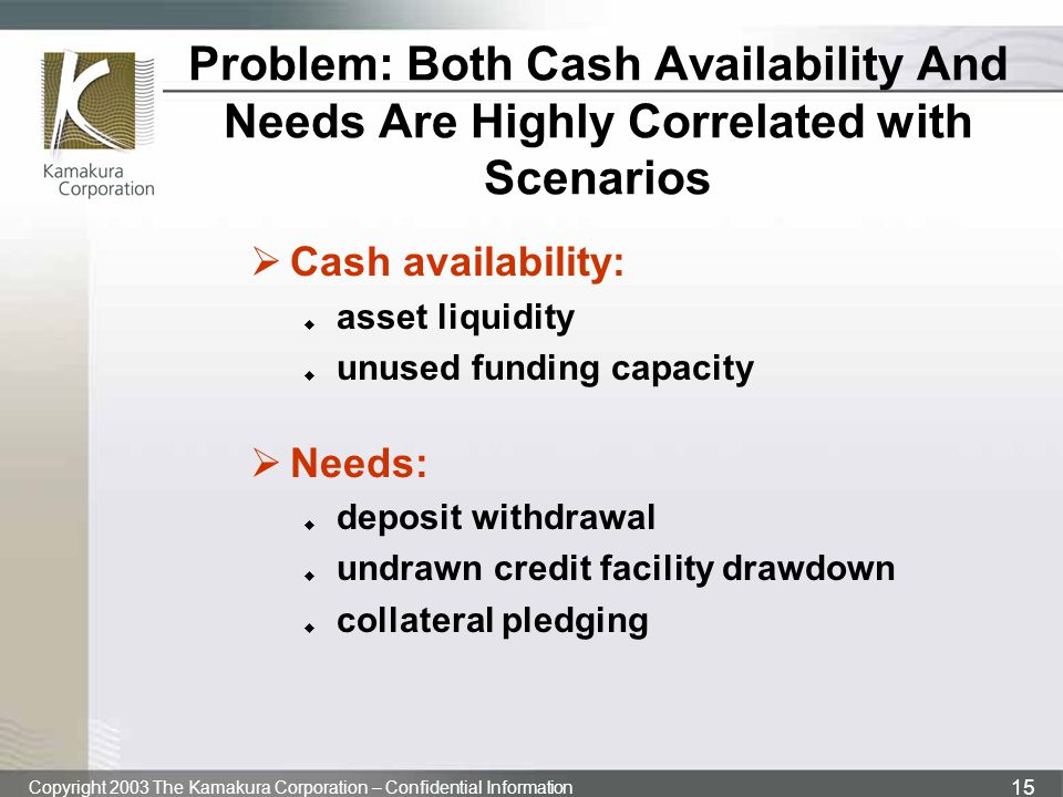 Problem: Both Cash Availability And Needs Are Highly Correlated with Scenarios