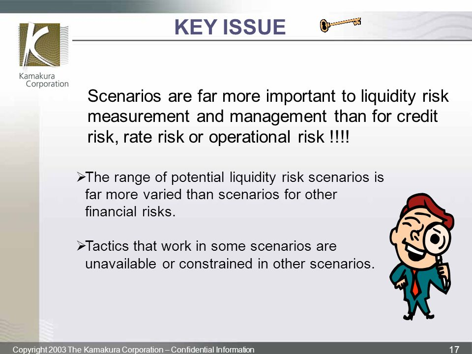 KEY ISSUE Scenarios are far more important to liquidity risk measurement and management than for credit risk, rate risk or operational risk !!!!