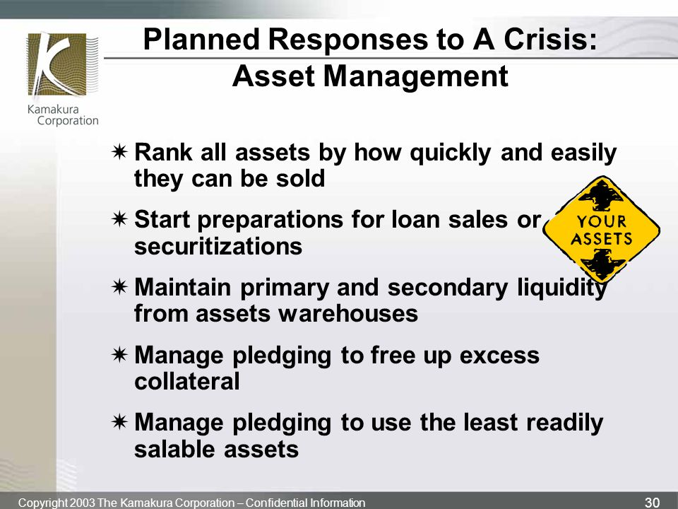 Planned Responses to A Crisis: Asset Management