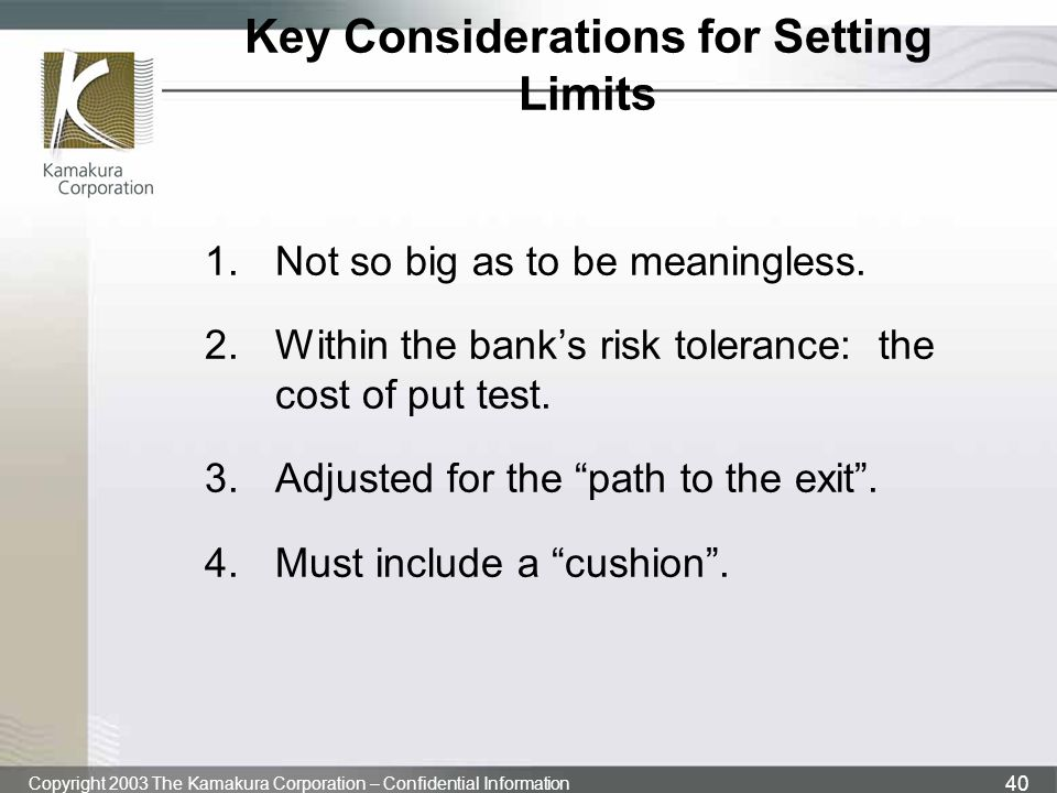 Key Considerations for Setting Limits