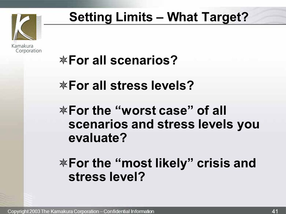 Setting Limits – What Target