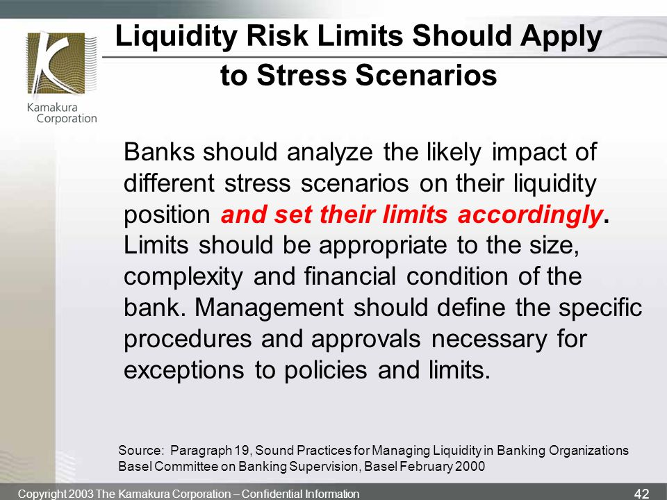 Liquidity Risk Limits Should Apply to Stress Scenarios