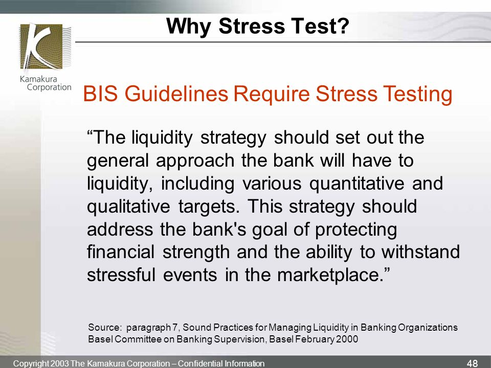 BIS Guidelines Require Stress Testing