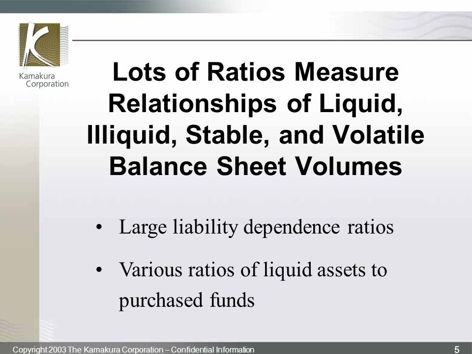 Lots of Ratios Measure Relationships of Liquid, Illiquid, Stable, and Volatile Balance Sheet Volumes