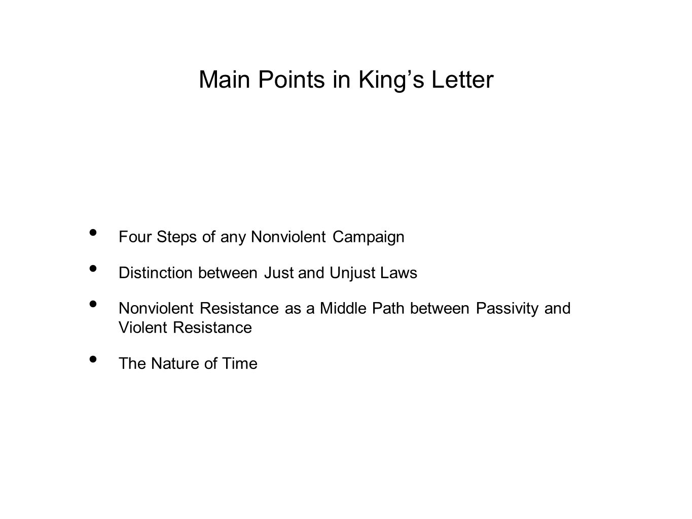 Main Points in King's Letter