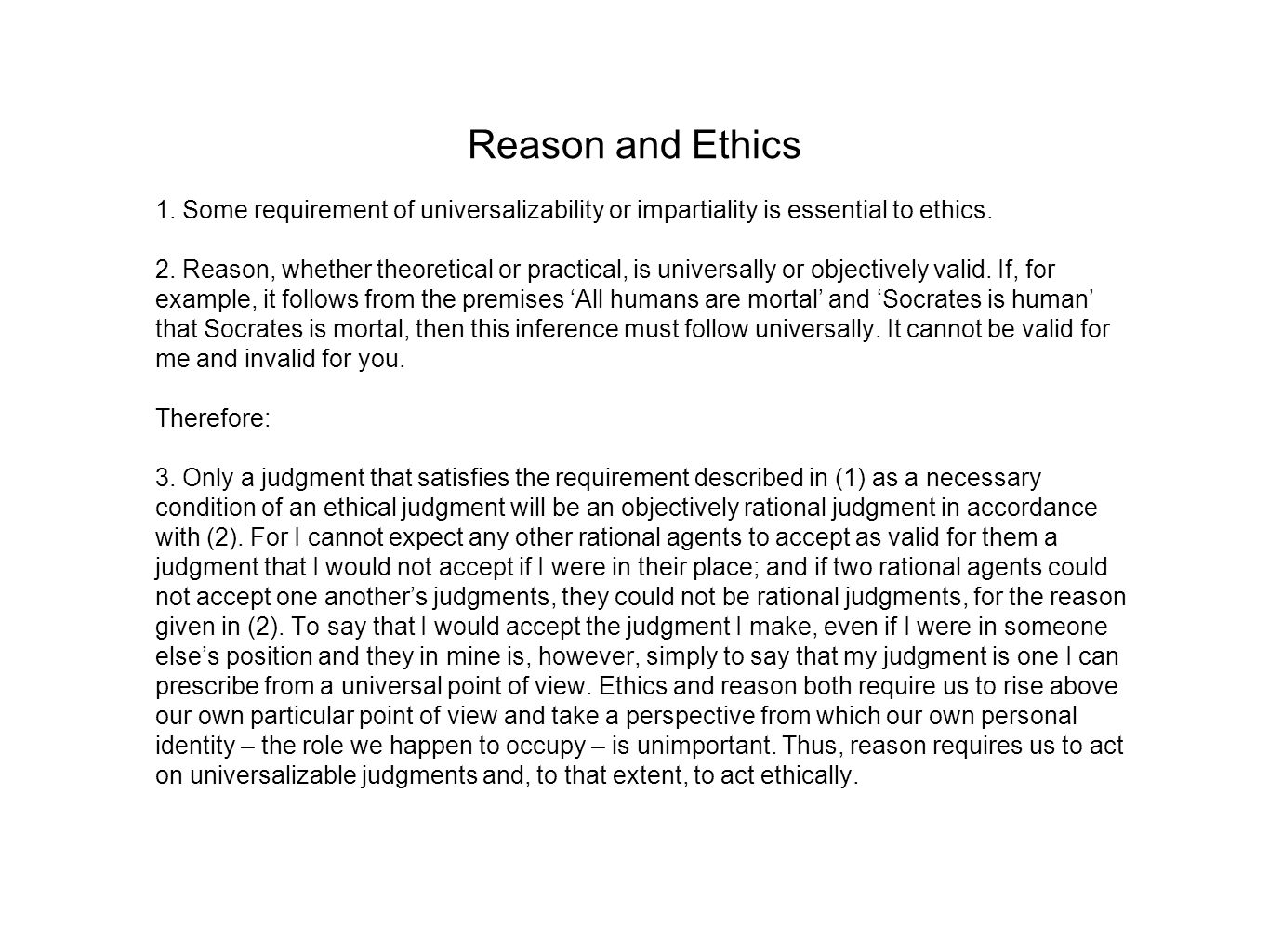 Reason and Ethics