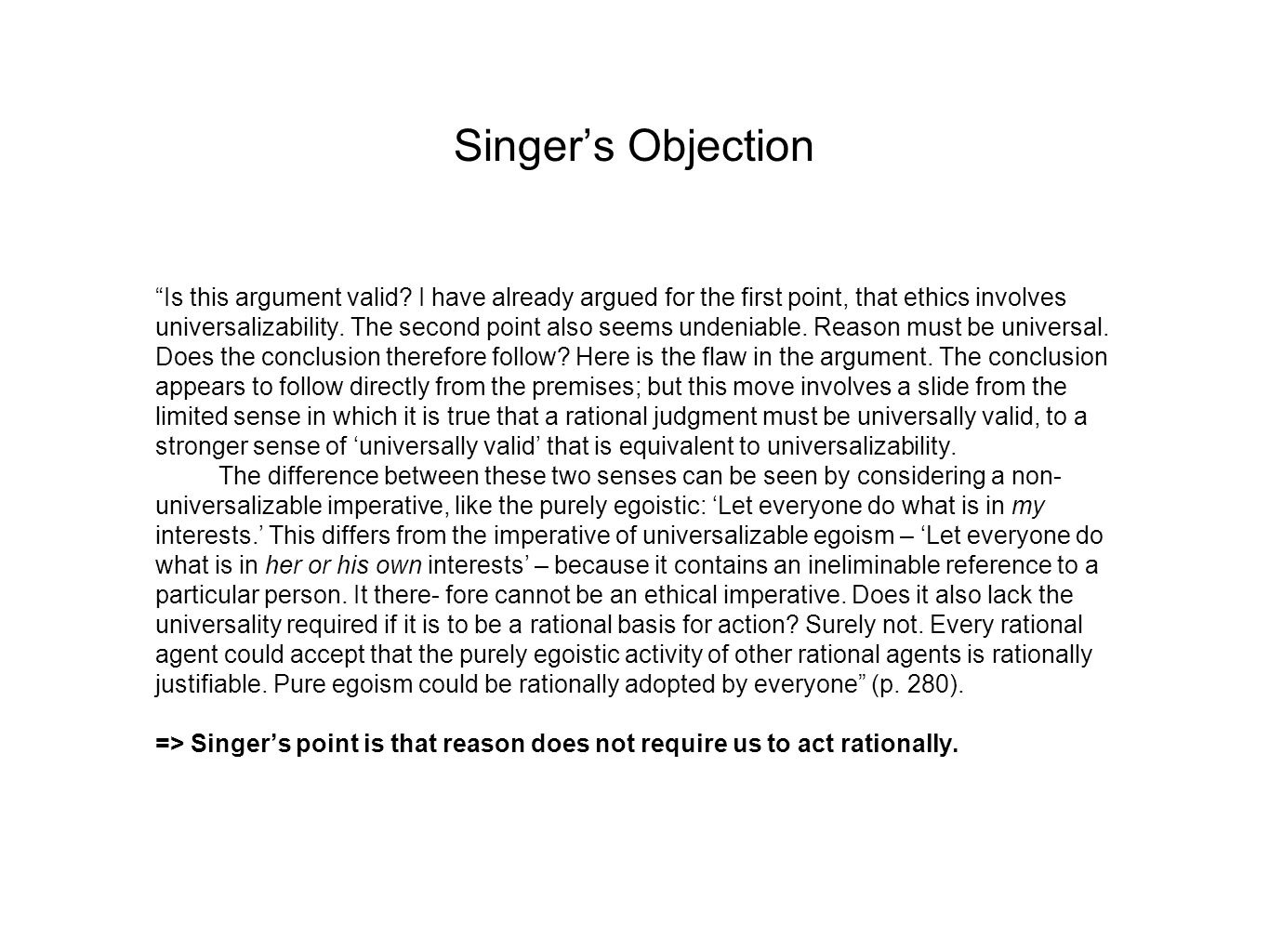 Singer's Objection