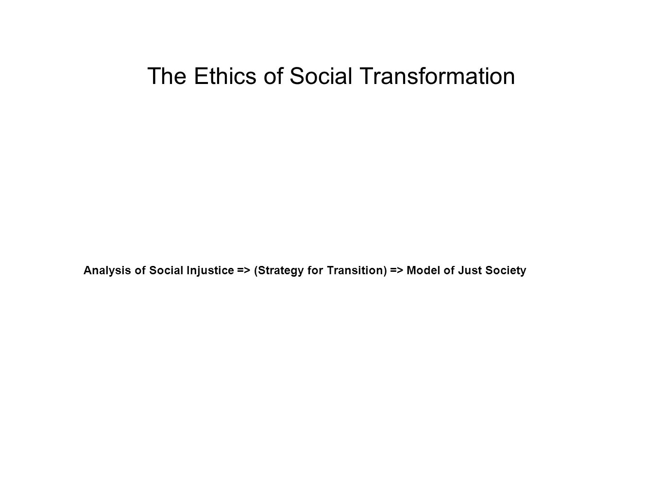 The Ethics of Social Transformation