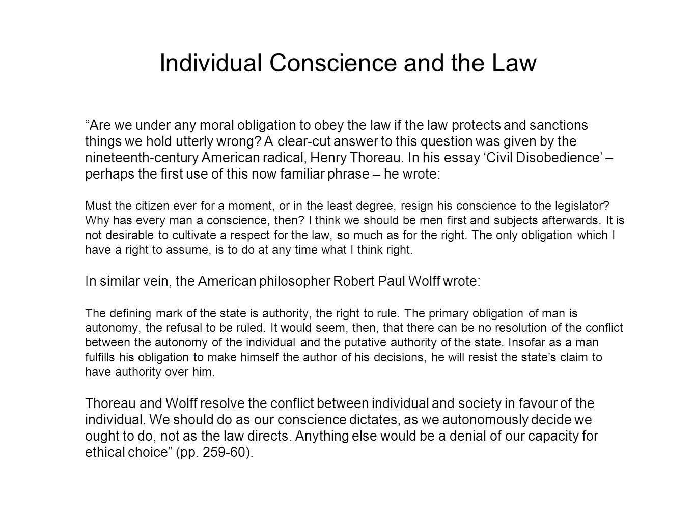 Individual Conscience and the Law