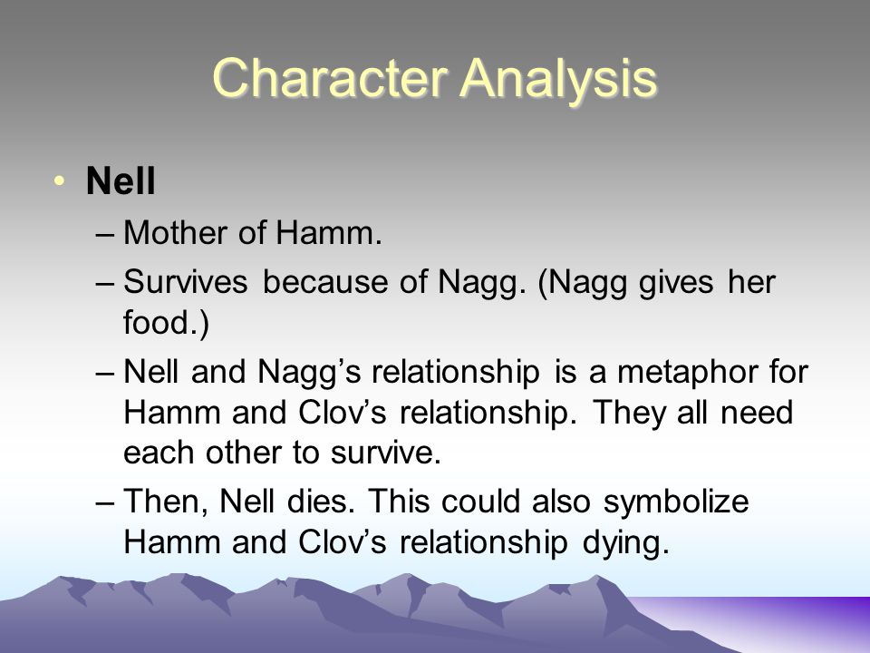Character Analysis Nell Mother of Hamm.