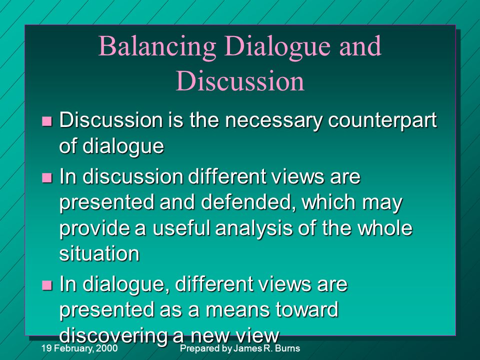Balancing Dialogue and Discussion