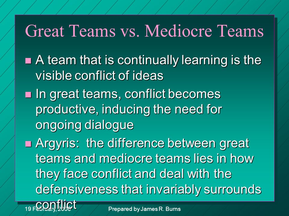 Great Teams vs. Mediocre Teams
