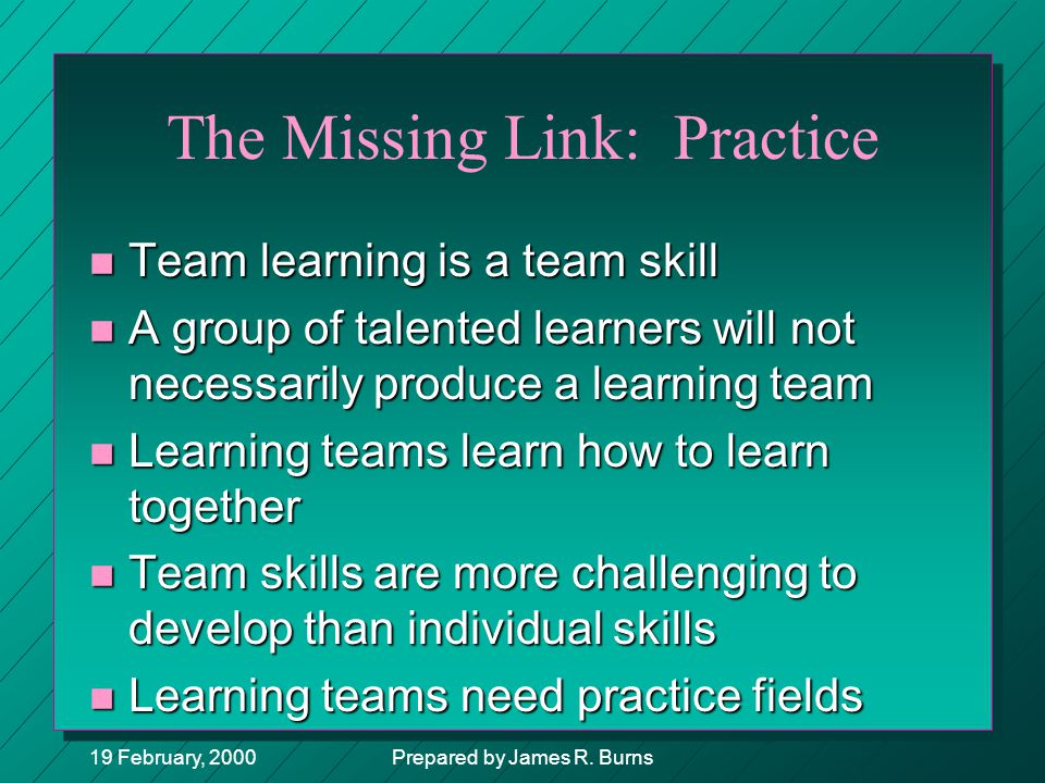 The Missing Link: Practice
