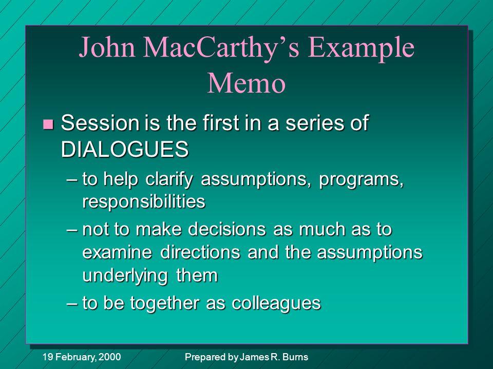 John MacCarthy's Example Memo