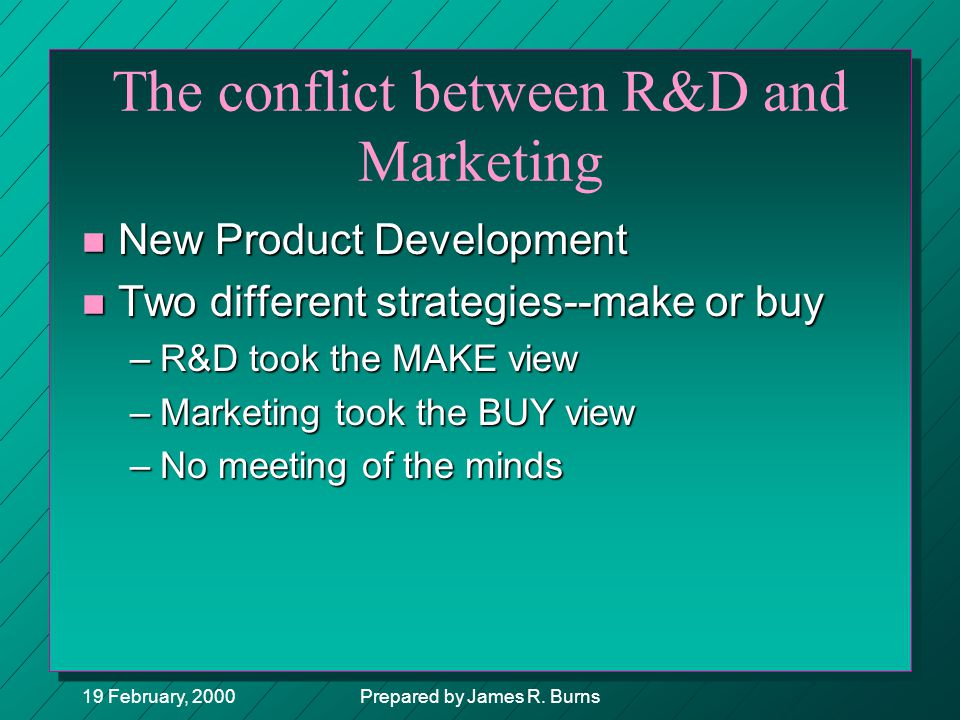 The conflict between R&D and Marketing