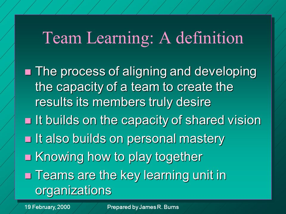 Team Learning: A definition