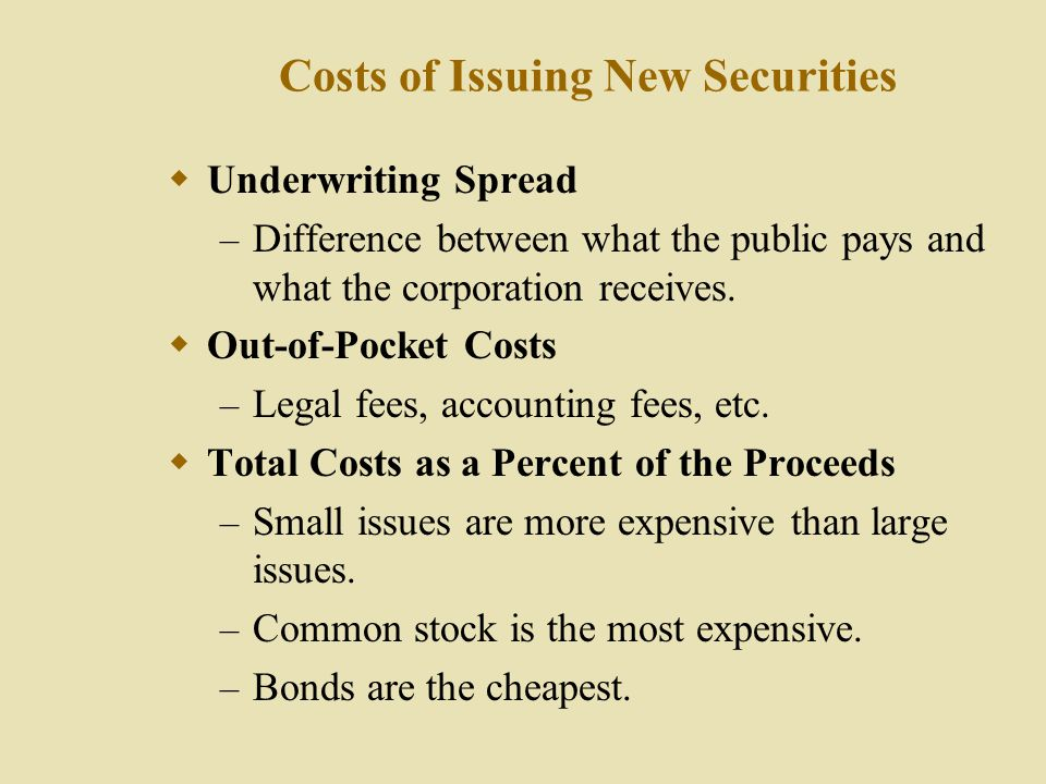 Costs of Issuing New Securities