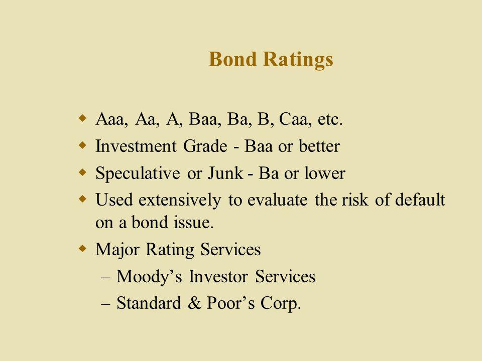 Bond Ratings Aaa, Aa, A, Baa, Ba, B, Caa, etc.