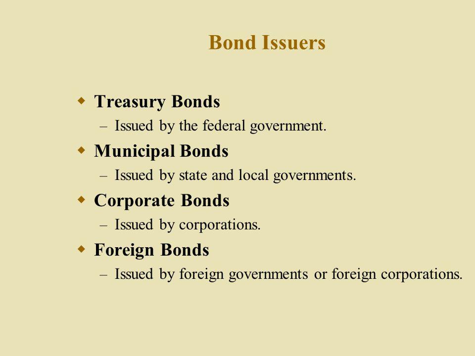 Bond Issuers Treasury Bonds Municipal Bonds Corporate Bonds