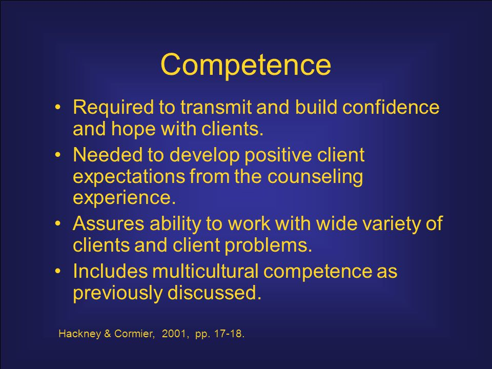 Competence Required to transmit and build confidence and hope with clients.