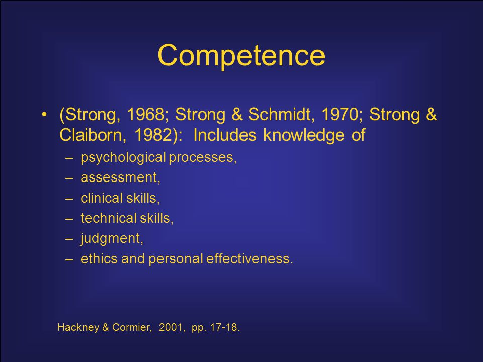 Competence (Strong, 1968; Strong & Schmidt, 1970; Strong & Claiborn, 1982): Includes knowledge of.